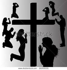 people praying by cross