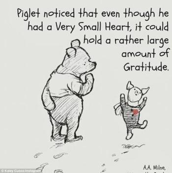 Piglet small heart large gratitude