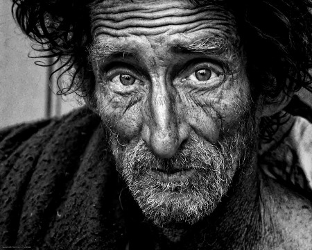 depressed homeless man