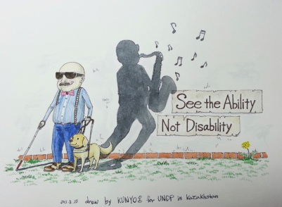 man with seeing eye dog with ability